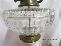 Pair of brass base porcelain lamps with glass font