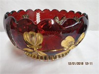 """Flash glass cut gold decorated bowl 7.5"""" across"""