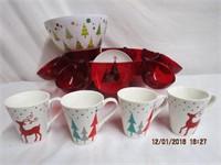 Christmas acrylic punch bowl,popcorn bowl and 4