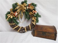 Wreath and a hinged lid wooden box