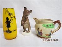 Russian Bear figurine, small jug and a Mary