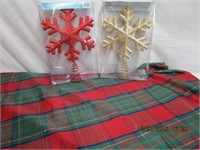 """Tablecloth 70 X 52"""" and 2 treetop ornaments"""
