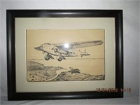 Framed Early Aircraft print 19.5 X 25.5