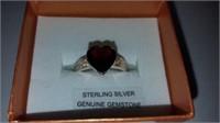 STELING SILVER GENUINE GARNET (3.01 CTS) &