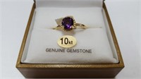 10 KT. YELLOW GOLD 6MM GENUINE AMETHYST SOLITAIRE