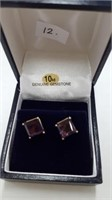10 KT. YELLOW GOLD 7X7 MM GENUINE AMETHYST