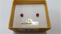 10 KT. YELLOW GOLD 4MM RUBY (0.66 CTS) & CZ