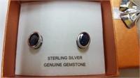 GENUINE SILVER 8X6MM GENUINE SAPPHIRE EARRINGS -