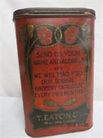 "Eatons advertising tin 8 X 7 X 12.5""H"