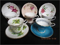 5 Bone china cups and saucers