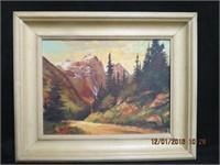 Framed oil on board Mountain landscape