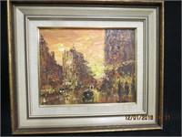 """Framed Oilette """"Street Scene"""" signed Heller"""