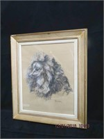 """Framed pastel and charcoal poodle """"Tamba"""" signed"""