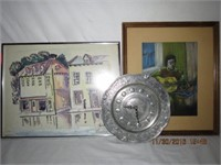 2 pieces of framed art and a Pewter battery