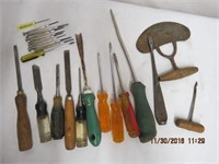 Chisels, screwdrivers, gimlet, set of small