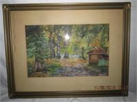 Framed watercolor signed CF. Barker (Charles