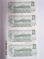 4 Canadian 1 dollar bank notes 1973