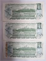 3 Canadian 1 dollar bank notes 1973 consecutive