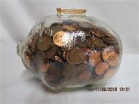 "Depression glass piggy bank full of pennies 6.5""L"
