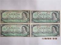 4 Canadain Centennial1 dollar bank notes