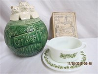 McCoy cookie jar repaired, Pyrex gravy boat and