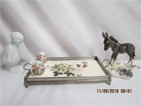Goebel Donkey, footed China tray in silver frame,