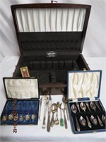 Cocktail spoons in presentation case, sugar tongs,