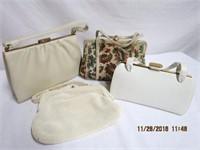 Tapestry handbag, beaded handbag and 2 leather