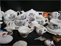 Assortment of childs doll dishes, miniatures, etc