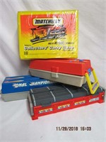 Hot Wheel storage cases and a Matchbox