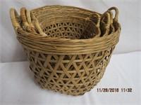 Graduated set of 4 handled baskets
