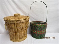 Covered double handled basket and long handled