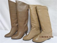 2 pairs of leather boots size 6 1/2, Canadian made
