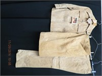 3 piece suede suit ,jacket, A line skirt and
