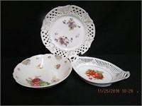 German ribbon oval bowl, open lattice 10.5