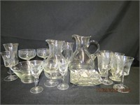 2 Glass pitchers, bowl, odd pieces of stemware