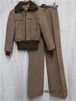 Tweed pant suit Bomber jacket and bell bottom
