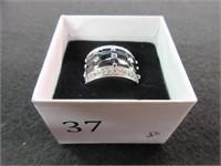 Ladies Cubic Zirconia and Black Gemstone Ring