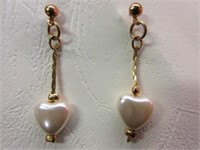 Ladies Gold Toned Dangle Earrings with Pearl Heart