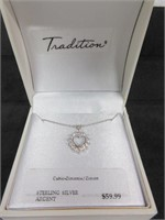 Sterling Silver and Cubic Zirconia Heart Pendant N