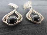 Early Sterling Silver Onyx Gemstone Earrings