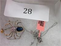 Ladies Spider Gemstone Accent Necklace