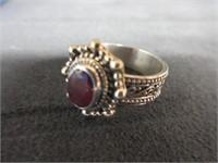 Ladies Sterling Silver Gemstone Ring