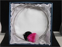 Pair of Ladies Pink and Black Agate Stone Necklace