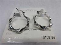 Ladies Sterling Silver Genuine Diamond Earrings