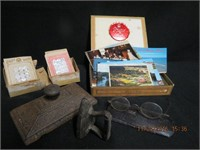Cigar box, postcards, 2 boxes of antique buttons