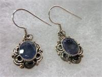 Ladies Sterling Silver Blue Gemstone Earrings