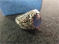 Ladies Blue Gemstone Ring