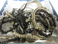 Ladies Black and Silver Toned Beaded Bracelet and