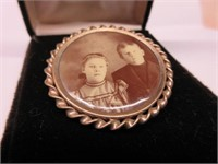Antique Gilt Brooch with Photo
